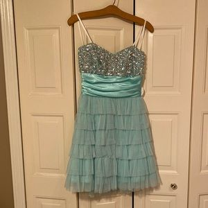 DEB turquoise strapless beaded dress.